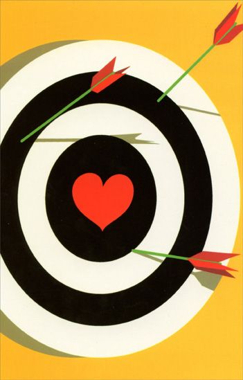 Bullseye With Heart Center (1 card/1 envelope) Freedom Greetings Miss You Card  INSIDE: missing you.