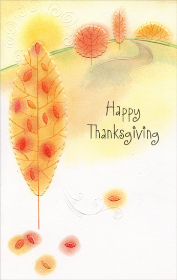 Trees and Path (1 card/1 envelope) Imagine Thanksgiving Card - FRONT: Happy Thanksgiving  INSIDE: Hope your holiday is filled with beautiful moments and people as delightful as you! Enjoy your Thanksgiving