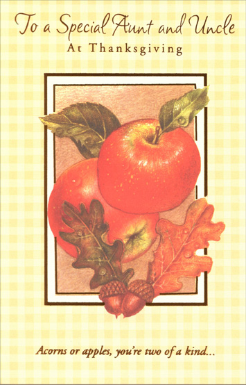 Apples & Acorns (1 card/1 envelope) Thanksgiving Card - FRONT: For a Special Aunt and Uncle at Thanksgiving -- Acorns or apples, you're are two of a kind...  INSIDE: ... A more loved Aunt and Uncle, I know you won't find! Hoping this Thanksgiving is as special as you both.