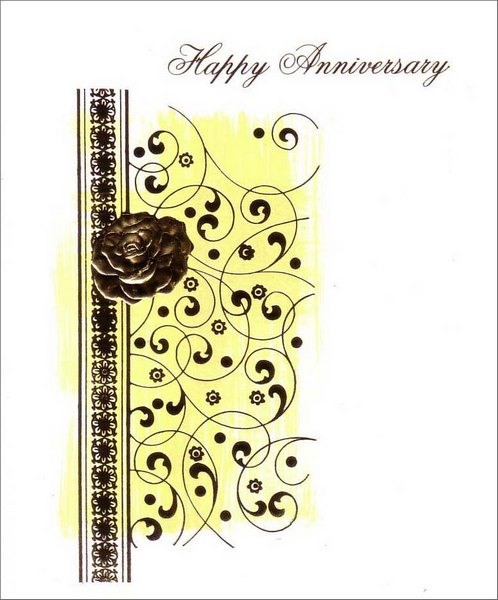 Gold Rose (1 card/1 envelope) Anniversary Card - FRONT: Happy Anniversary  INSIDE: May your special day be one you remember forever.