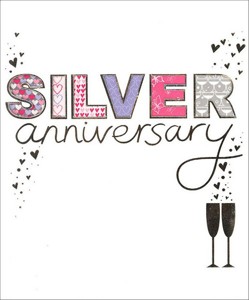 Silver Diecut (1 card/1 envelope) Anniversary Card - FRONT: Silver Anniversary  INSIDE: Happy Silver Wedding Anniversary!