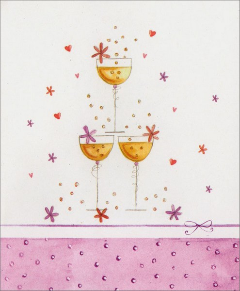 Champagne Glasses (1 card/1 envelope) Anniversary Card  INSIDE: May your special day be bright with joy, warm with friendship and filled with happy memories! Congratulations