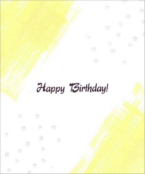 Yellow Strokes on White (1 card/1 envelope) Birthday Card - FRONT: Happy Birthday!  INSIDE: Wishing you a birthday that's as happy as can be!