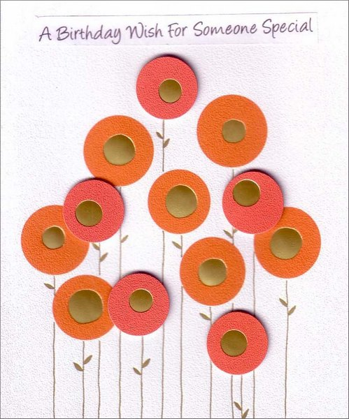 Red & Gold Flowers (1 card/1 envelope) Birthday Card - FRONT: A Birthday Wish For Someone Special  INSIDE: This comes to say In a special way You're wished the best Today and everyday. Happy Birthday!