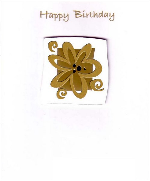 Gold Foil Daisy (1 card/1 envelope) - Birthday Card - FRONT: Happy Birthday  INSIDE: May You Have Many More!
