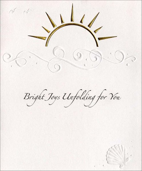 Sunburst on Waves (1 card/1 envelope) Birthday Card - FRONT: Bright Joys Unfolding for You  INSIDE: Wishing you a year of bright and happy joys. Happy Birthday