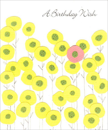Lone Pink Flower (1 card/1 envelope) - Birthday Card - FRONT: A Birthday Wish  INSIDE: Hope your birthday is bright and filled with delight from morning 'til night!