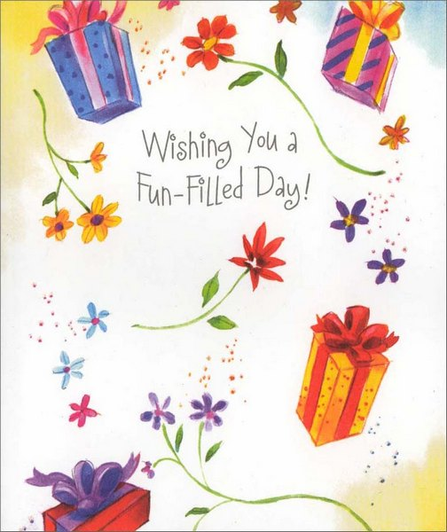 Fun-Filled Day (1 card/1 envelope) - Birthday Card - FRONT: Wishing You a Fun-Filled Day!  INSIDE: Wherever you go, inside or out, hope you find lots to smile about! Happy Birthday!