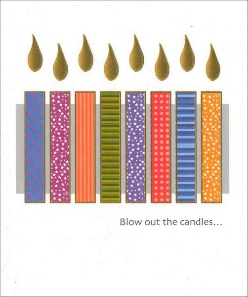 Colorful Candles (1 card/1 envelope) Birthday Card - FRONT: Blow out the candles�  INSIDE: �it's your birthday!
