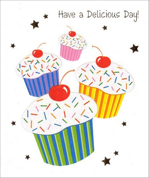 Four Cupcakes (1 card/1 envelope) Birthday Card - FRONT: Have a Delicious Day!  INSIDE: Tasty wishes to the cream of the crop Happy Birthday with a cherry on top!