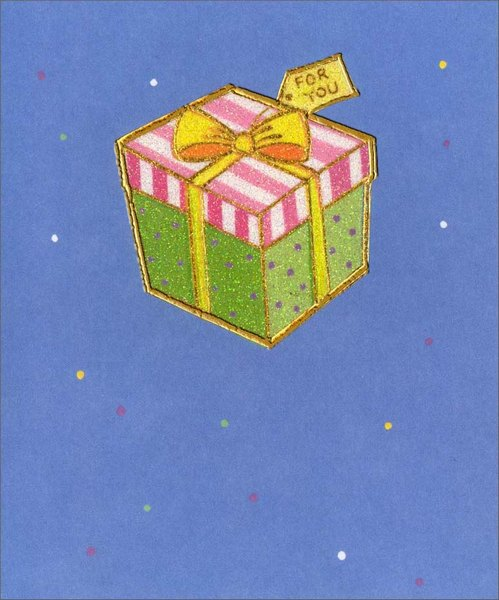 Gift with Yellow Ribbon (1 card/1 envelope) - Birthday Card - FRONT: For You  INSIDE: Wishing you all life's very best - smiles, joy and happiness! Happy Birthday