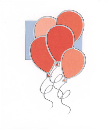 Red & Pink Balloons (1 card/1 envelope) Birthday Card  INSIDE: Happy Birthday!