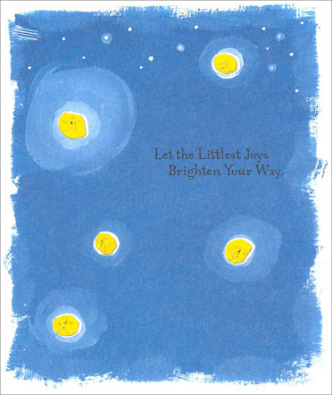 Fireflies (1 card/1 envelope) Birthday Card - FRONT: Let the Littlest Joys Brighten Your Way.  INSIDE: Happy Birthday!