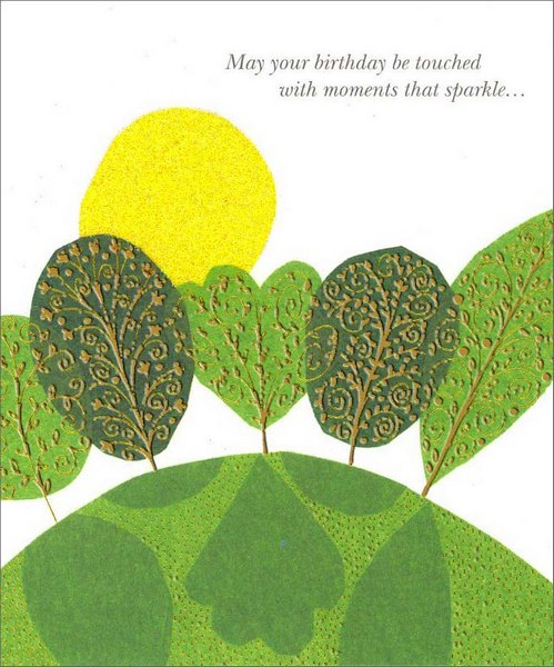 Trees on Hill (1 card/1 envelope) Birthday Card - FRONT: May your birthday be touched with moments that sparkle�  INSIDE: �like jewels for your heart. Happy Birthday!