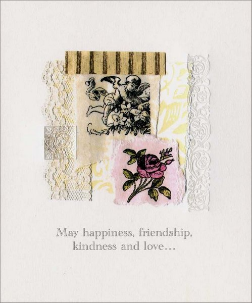 Angel & Rose (1 card/1 envelope) Birthday Card - FRONT: May happiness, friendship, kindness and love�  INSIDE: �be the four seasons your heart forever celebrates. Happy Birthday