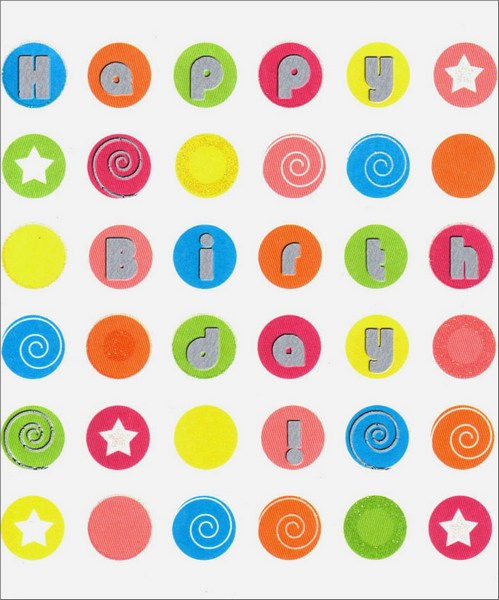 Happy Birthday Circles (1 card/1 envelope) - Birthday Card - FRONT: Happy Birthday  INSIDE: May your world sparkle with a million reasons to smile!
