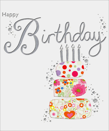 3 Layer Cake (1 card/1 envelope) Birthday Card - FRONT: Happy Birthday  INSIDE: make a wish