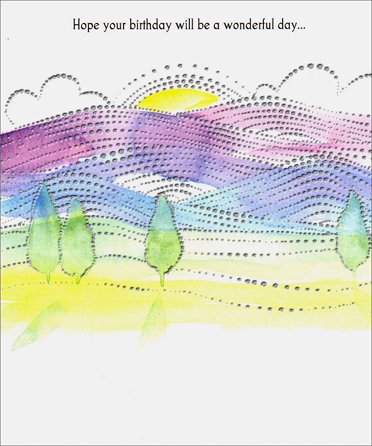 Horizon (1 card/1 envelope) - Birthday Card - FRONT: Hope your birthday will be a wonderful day�  INSIDE: The very warmest wishes for a birthday that will bring the best of everything� For if anyone deserves to have a happy day, it's you! Happy Birthday