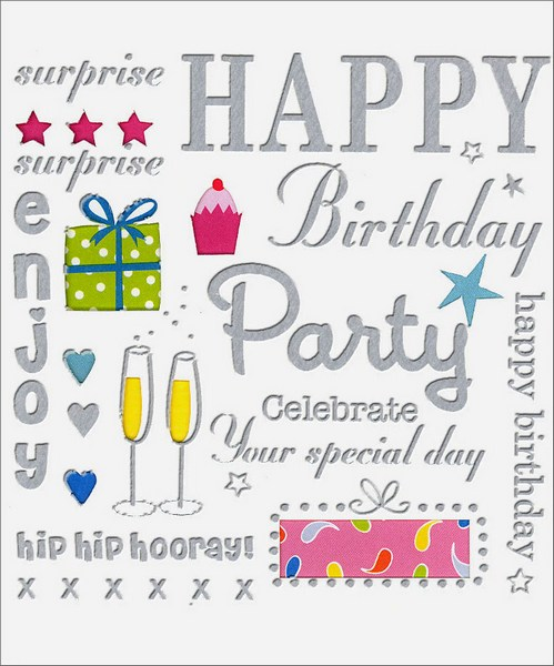Birthday Messages (1 card/1 envelope) Birthday Card - FRONT: Happy Birthday - surprise - enjoy - party - celebrate your special day - hip hip hooray!  INSIDE: Happy Birthday to You!