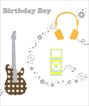 Musical Birthday (1 card/1 envelope) Birthday Card - FRONT: Birthday Boy  INSIDE: Wishing you a birthday just as wonderful as you!