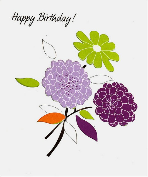 Three Flowers (1 card/1 envelope) Birthday Card - FRONT: Happy Birthday!  INSIDE: Wishing you a birthday just as wonderful as you!