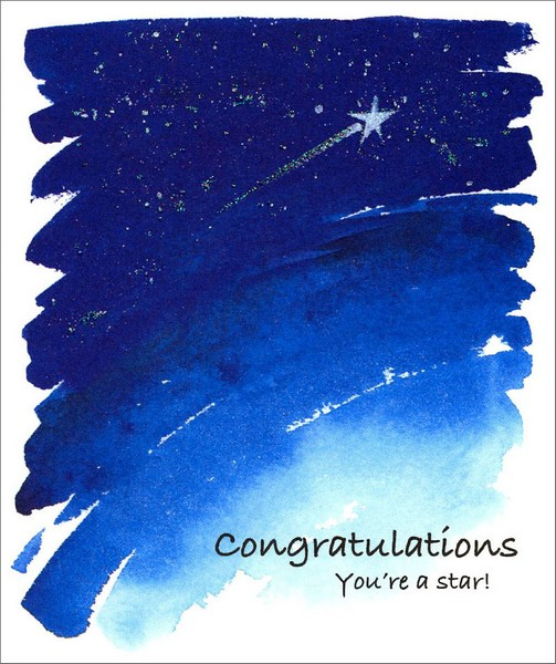 Shooting Star (1 card/1 envelope) - Congratulations Card - FRONT: Congratulations You're a Star!  INSIDE: Best wishes for a future that sparkles!
