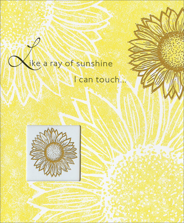 Ray of Sunshine (1 card/1 envelope) Friendship Card - FRONT: Like a ray of sunshine I can touch�  INSIDE: Your friendship warms me.