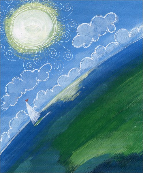Sailboat on Horizon (1 card/1 envelope) Friendship Card  INSIDE: Because of you, my world is a happy place.