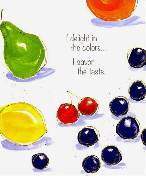 Colorful Fruit (1 card/1 envelope) Friendship Card - FRONT: I delight in the colors� I savor the taste�  INSIDE: I cherish a friendship as sweet as ours!