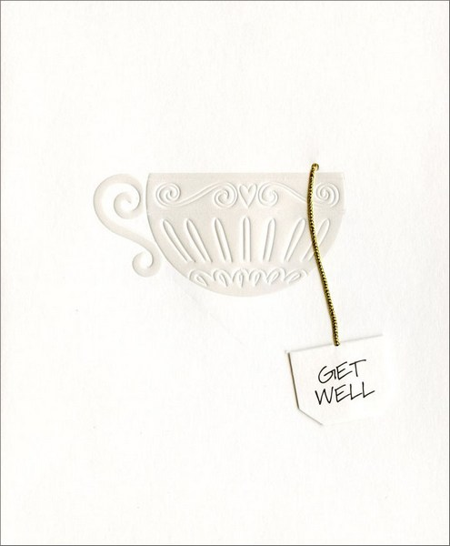 Tea Cup (1 card/1 envelope) Get Well Card - FRONT: Get Well  INSIDE: Hot tea and honey does a body good� But warm wishes soothe the mind. Hope You're Feeling Better!
