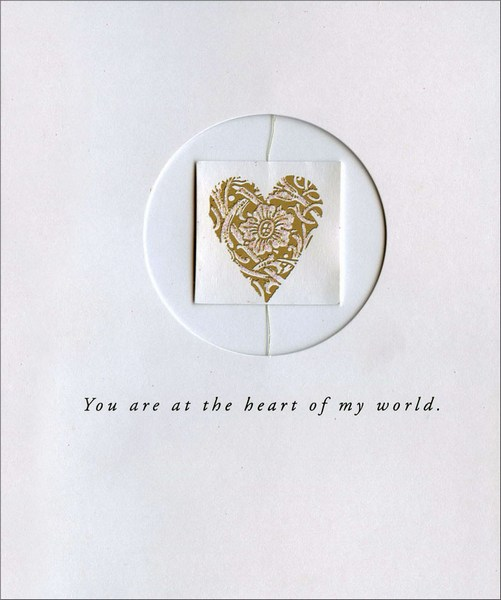 Heart in Window (1 card/1 envelope) Love Card - FRONT: You are at the heart of my world.  INSIDE: I love you.