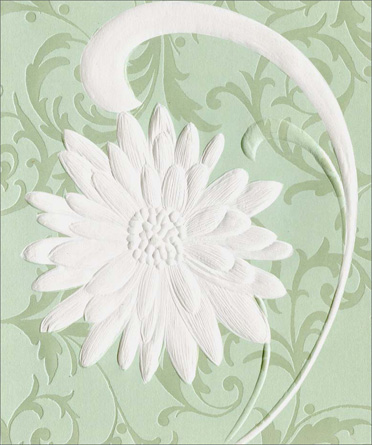 Single White Daisy (1 card/1 envelope) - Miss You Card  INSIDE: I miss you today.