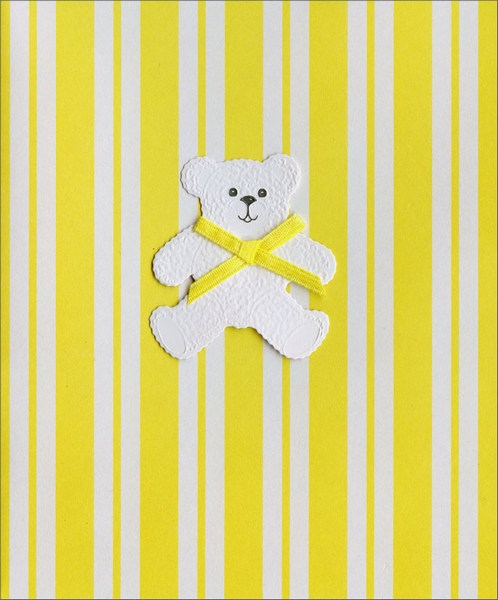 Bear with Yellow Bow (1 card/1 envelope) New Baby Card  INSIDE: A beautiful baby... A gift tied with love for your heart to unwrap all the days of your life. Congratulations