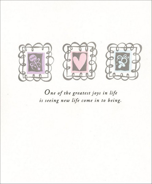 Icons on Silver Foil (1 card/1 envelope) - New Baby Card - FRONT: One of the greatest joys in life is seeing new life come in to being.  INSIDE: Congratulations on your newborn!