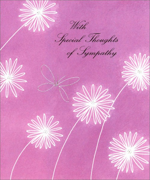 Butterfly & Daisies (1 card/1 envelope) - Sympathy Card - FRONT: With Special Thoughts of Sympathy  INSIDE: Thinking of you at this time of sorrow, with a wish for strength as you face tomorrow.
