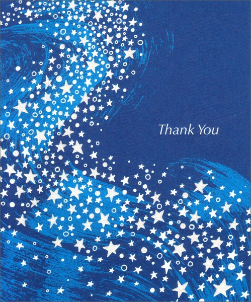 Wave of Stars (1 card/1 envelope) Thank You Card - FRONT: Thank You  INSIDE: For showing you care in the special way that only you could do, You're remembered with special gratitude, too!