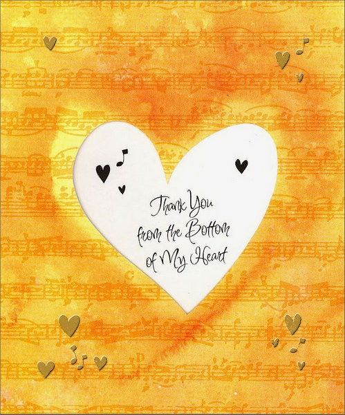 Bottom of My Heart (1 card/1 envelope) Thank You Card  INSIDE: Thank You from the Bottom of My Heart