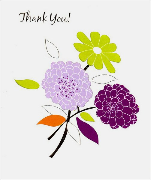 Three Flowers (1 card/1 envelope) - Thank You Card - FRONT: Thank You!  INSIDE: Your thoughtfulness and kindness are very much appreciated.