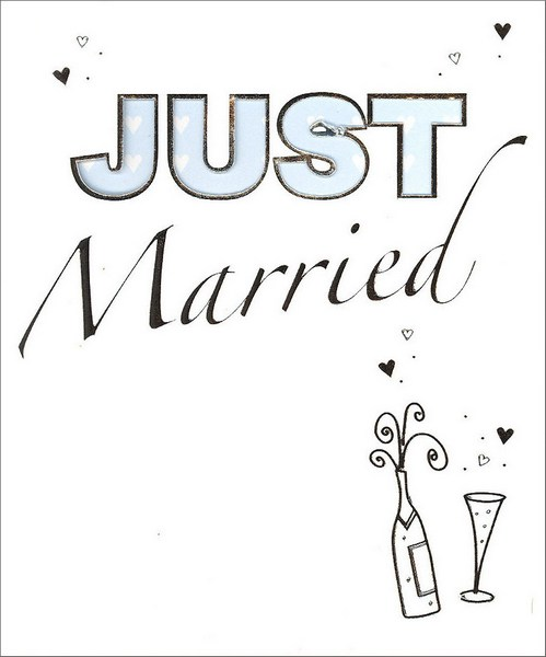 Silver Foil Congrats (1 card/1 envelope) - Wedding Card - FRONT: JUST Married  INSIDE: Congratulations!