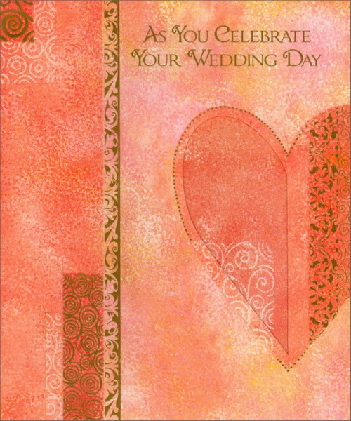 Heart Shades of Pink (1 card/1 envelope) - Wedding Card - FRONT: As You Celebrate Your Wedding Day  INSIDE: Congratulations and best wishes