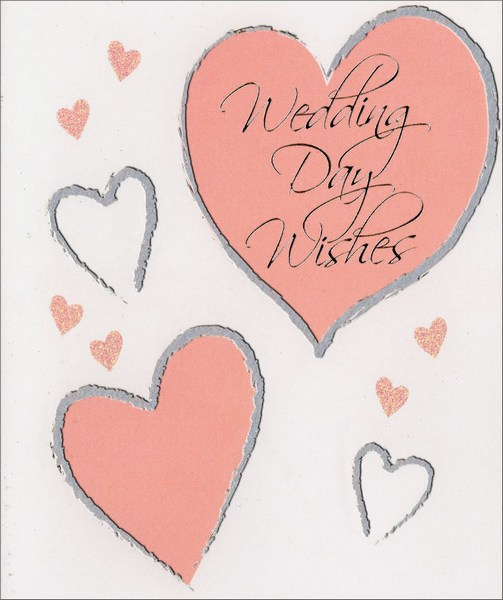 Pink Hearts (1 card/1 envelope) - Wedding Card - FRONT: Wedding Day Wishes  INSIDE: Congratulations
