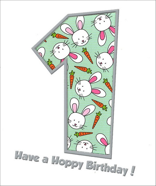 Hoppy First Birthday (1 card/1 envelope) Freedom Greetings 1st Birthday Card - FRONT: 1 - Have a Hoppy Birthday!  INSIDE: Happy 1st Birthday!