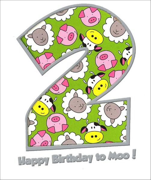 Happy Birthday to Moo (1 card/1 envelope) Freedom Greetings 2nd Birthday Card - FRONT: 2 - Happy Birthday to Moo!  INSIDE: Happy 2nd Birthday!