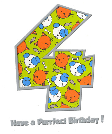 Purrfect Fourth Birthday (1 card/1 envelope) Freedom Greetings 4th Birthday Card - FRONT: 4 - Have a Purrfect Birthday!  INSIDE: Happy 4th Birthday!