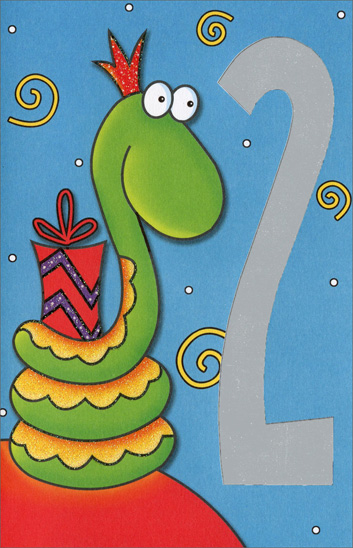 Snake with Present (1 card/1 envelope) - Birthday Card - FRONT: 2  INSIDE: Have Lots of Fun on Your 2nd Birthday!
