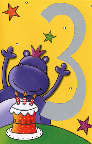 Purple Hippo (1 card/1 envelope) Freedom Greetings 3rd Birthday Card - FRONT: 3  INSIDE: Hip HIPPOray! You're a Big THREE today!