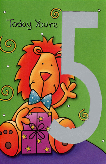 Lion with Present (1 card/1 envelope) Freedom Greetings 5th Birthday Card - FRONT: Today You're 5  INSIDE: Have a ROARING 5th Birthday!