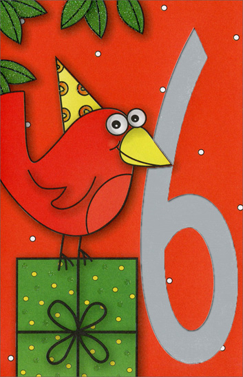 Bird Standing on Present (1 card/1 envelope) Freedom Greetings 6th Birthday Card - FRONT: 6  INSIDE: A little bird flew in and told me today was your 6th Birthday! Happy Birthday!