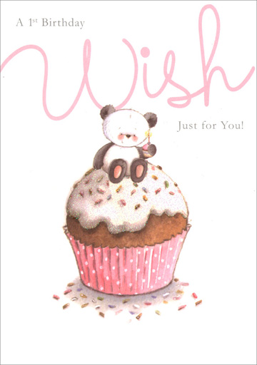 Panda 1st Birthday Cupcake (1 card/1 envelope) Freedom Greetings Birthday Card - FRONT: A 1st Birthday Wish Just for You!  INSIDE: There's one big candle on your cake And one big wish it's time to make� Happy 1st Birthday!