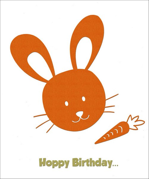 Rabbit Foil Birthday (1 card/1 envelope) Freedom Greetings Kid's Birthday Card - FRONT: Hoppy Birthday�  INSIDE: �to You!